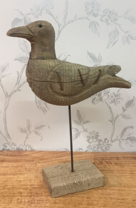 Driftwood Seagull ~ Bird on Post with Metal Detail 28cm